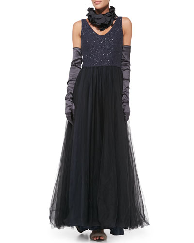 "Brunello Cucinelli Paillette-Bodice Tulle Gown, Silk Petal Collar & Satin Evening Gloves<br>This item may still be available in stores. <a href=""http://www.neimanmarcus.com/stores/index.jsp""target=""_blank"">Find your nearest NM</a><br>"