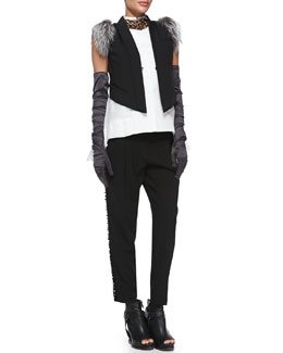 Brunello Cucinelli Satin Evening Gloves, Crystal Collar Necklace, Detachable-Fur-Shoulder Vest, Sleeveless Layered-Hem Blouse & Pleated Paillette-Stripe Tuxedo Pants