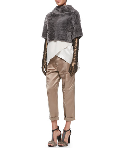 Brunello Cucinelli Marbled Shearling Fur Crop Jacket, Satin Crisscross Tank, Pleated Satin Pants & Lamé Leather Evening Gloves