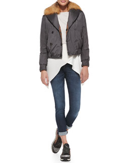 Brunello Cucinelli Reversible Fur-Collar Bomber Jacket, Cropped Pullover, Satin Crisscross Tank & Classic 5-Pocket Jeans