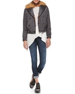 Brunello Cucinelli Reversible Fur-Collar Bomber Jacket, Cropped Pullover, Satin Crisscross Tank & Classic 5-Pocket Jeans