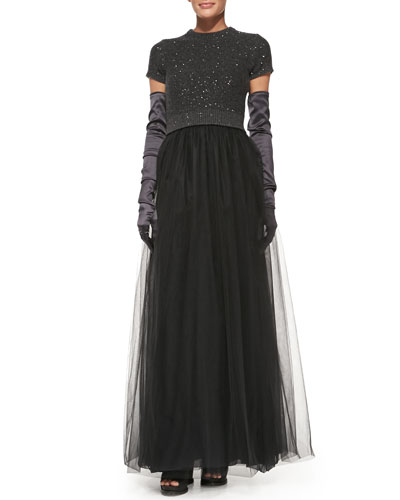 """Brunello Cucinelli Short-Sleeve Paillette-Top Tulle Gown & Satin Evening Gloves<br>This item may still be available in stores. <a href=""""http://www.neimanmarcus.com/stores/index.jsp""""target=""""_blank"""">Find your nearest NM</a><br>"""