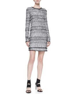 Helmut Lang Tweed Variant Grid Long-Sleeve Top & Skirt