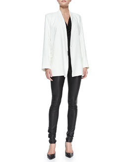 Helmut Lang Noa Open-Front Suiting Jacket, Draped Kinetic Jersey Top & Stretch-Leather Skinny Pants