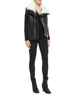 Helmut Lang Fur-Trim Leather Vest, Draped Kinetic Jersey Top & Bat Wash Skinny-Leg Denim Jeans