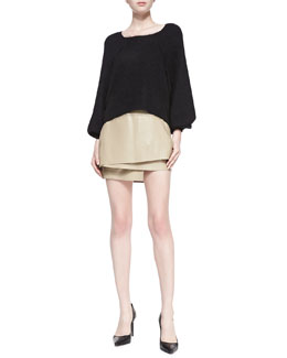 Helmut Lang Mixed-Knit Oversize Pullover & Layered Leather Miniskirt