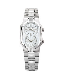 Philip Stein Small Signature Sport Double Diamond Watch Head & 18mm Stainless Steel Bracelet