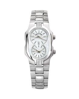 Philip Stein Small Signature Sport Double Diamond Watch Head & 18mm Stainless Steel Bracelet