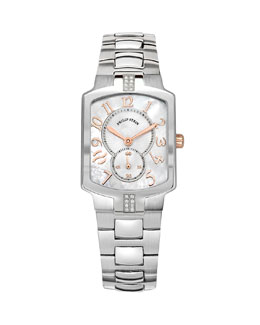 Philip Stein Small Classic Sport Square Stainless Steel/Rose Gold Diamond Watch Head & 18mm Stainless Steel Bracelet