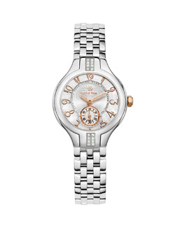 Philip Stein Mini Round Sport Stainless Steel/Rose Gold Diamond Watch Head & Mini Stainless Steel 5-Link Bracelet