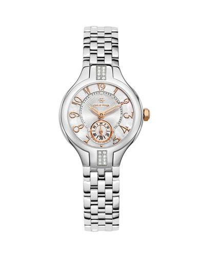 Philip Stein Mini Round Sport Stainless Steel/Rose Gold Diamond Watch Head & Mini Stainless Steel 5-Link Bracelet