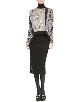 Jean Paul Gaultier Asymmetric Turtleneck Poncho Top & Polka Dot-Textured Skirt with Fold-Over Waist