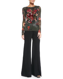 Jean Paul Gaultier Long-Sleeve Embroidered Floral-Print Tulle Top & Palazzo Pants