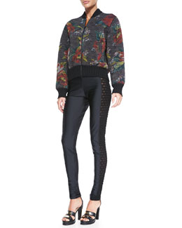 Jean Paul Gaultier Floral-Print Bomber Jacket & Side Cutout Leggings