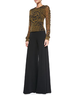 Jean Paul Gaultier Tiger-Print Tulle Top & Palazzo Pants