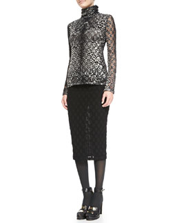 Jean Paul Gaultier Leopard-Print Top with Dot Texture & Polka Dot-Textured Skirt with Fold-over Waist