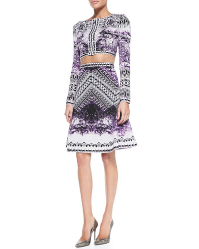 Herve Leger Alise Photographic Cropped Jacket & Veda Photographic High-Waisted Skirt