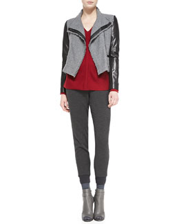 Vince Leather-Sleeve Boucle Jacket, Ladder-Stitch V-Neck Sweater & Ribbed-Cuff Tapered Trousers