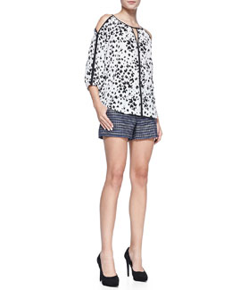 Trina Turk Posh Printed Cold-Shoulder Top & Corbin Fitted Tweed Shorts