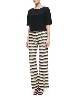 Trina Turk Khloe Silk Round-Neck Top & Perleen Zigzag-Design Wide-Leg Pants