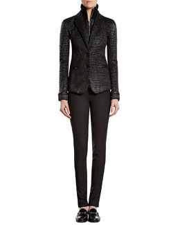 Gucci Shiny Zip-Front Jacket, Silk Satin Georgette V-Neck Top & Stretch Pants with Leather Detail