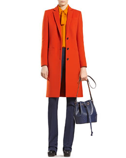 Gucci Wool Coat, Silk Shirt & Silk-Wool Flare Pants