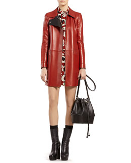 Gucci Red Leather Coat & Leopard-Print Crepe de Chine Dress