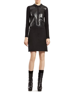 Gucci Black Leather Shirt with Knit Back & Military Skirt with Leather Trim