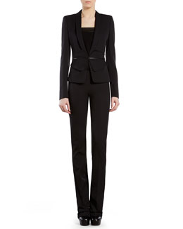 Gucci Silk Wool Butterfly-Waist Jacket, Natte Strap Top & Silk-Wool Flare Pants
