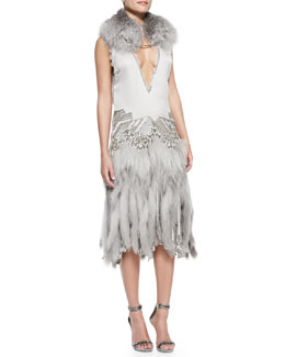 Roberto Cavalli Fox Fur Shawl with Lion Chain & Drop-Waist Fur-Skirted Dress