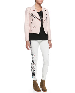 Rebecca Minkoff Wes Wool-Blend Moto Jacket, Mwah! Short-Sleeve Knit Tee & Jane Printed-Side Skinny Jeans