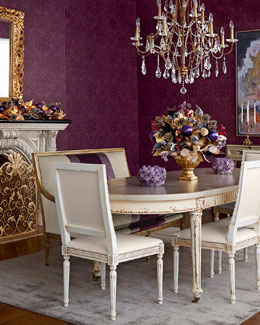 Massoud Doucette Dining Table, Lilah Settee, & Melissa Dining Chair