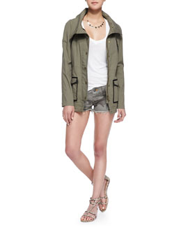 Veronica Beard Twill Contrast-Trim Military Jacket & Bobby Camo-Print Cutoff Shorts