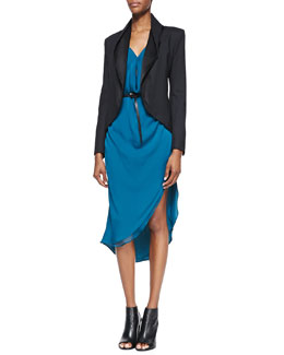 Halston Heritage Draped Round-Hem Blazer & Draped Long-Sleeve Satin Dress