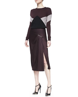Jason Wu Long-Sleeve Merino Intarsia Pullover Sweater & Satin Crepe Midi Skirt