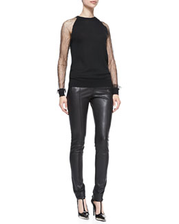 Jason Wu Lace-Sleeve Sweatshirt & Stovepipe Leather Pants