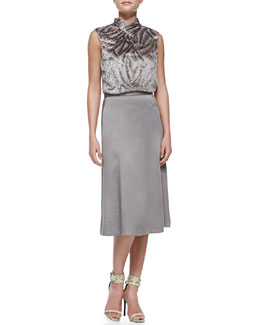 Jason Wu Sleeveless Swivel Velvet Tie Shell & Wool Crepe Trumpet-Hem Skirt