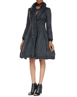 Halston Heritage Nylon Princess Puffer Coat & Ponte Twist-Front Cutout Long-Sleeve Dress