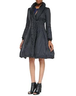 Halston Heritage Nylon Princess Puffer Coat & Ponte Twist-Front Cutout Long-Sleeve Dress