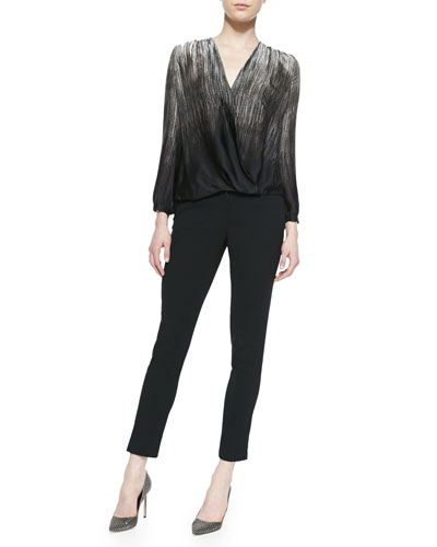 Halston Heritage Printed Satin Wrap-Front Top & Slim Crepe Ankle Pants