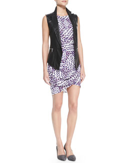 Rebecca Minkoff Tiffany Leather Tuxedo Vest & Colman Printed Wrap-Hem Dress