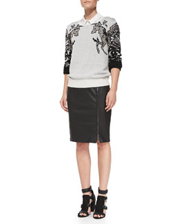 Rebecca Minkoff Hall Embellished Sweater, Roberta Silk Long-Sleeve Top & Marlo Leather/Knit Pencil Skirt