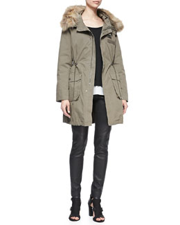 Rebecca Minkoff Morris Fur-Trim Hoodie Parka, Carolina Cashmere/Silk Scoop-Neck Sweater & Wheeler Leather Pants