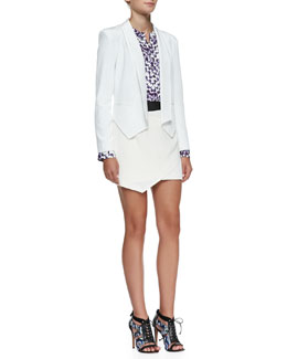 Rebecca Minkoff Becky Leather-Detail Silk Jacket, Clark Printed Silk Top & Lydia Crepe Wrap Skirt
