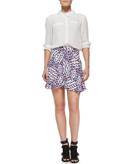 Rebecca Minkoff Roberta Silk Long-Sleeve Top & Kensett Printed Silk Skirt