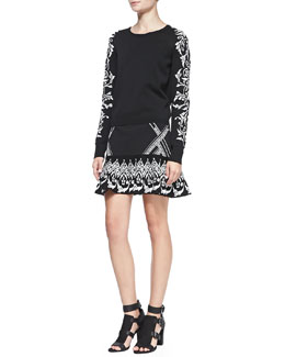 Rebecca Minkoff Frieze Jacquard-Sleeve Knit Sweater & Fowler Printed Sweater Skirt