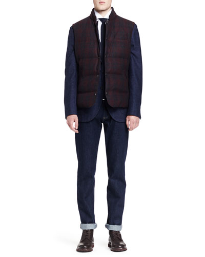 Plaid Down-Fill Vest, Flamed Peak-Lapel Jacket, Micro-Windowpane Button-Down Shirt & Five-Pocket Selvedge Denim Jeans