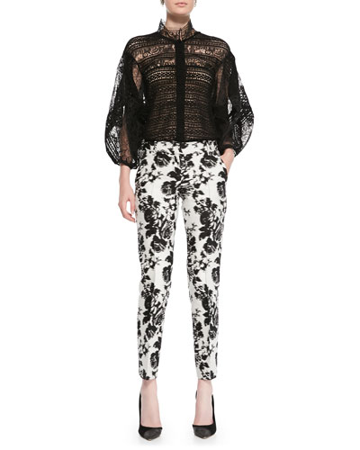 Oscar de la Renta Oversize-Sleeve Lace Blouse & Abstract Floral Cropped Pants