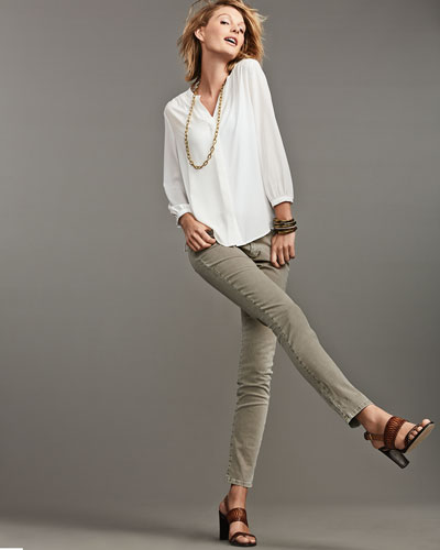 Key Item Long-Sleeve Pleated-Back Blouse & Alina Straight-Leg Jeans