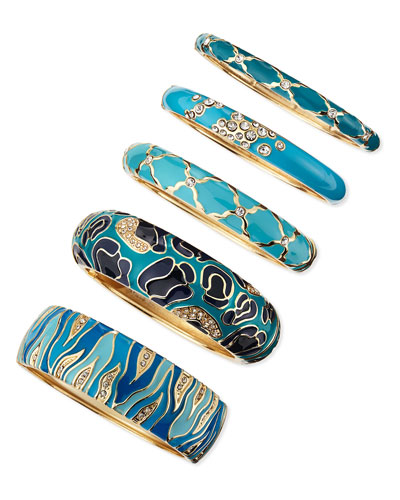 Sequin Assorted Blue Enamel Bangles